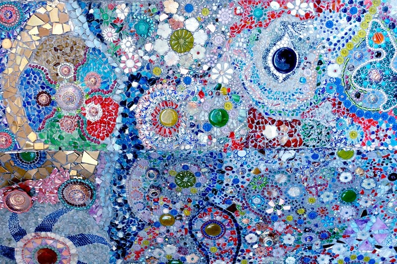 Colorful Glass Mosaic Art And Abstract Wall Backgr Stock