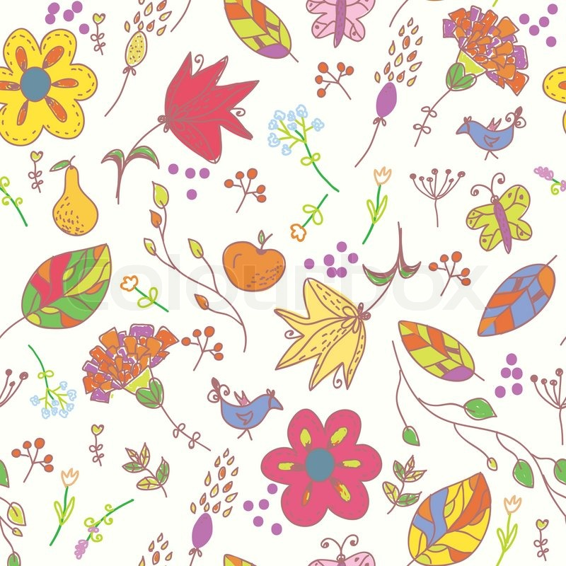 floral pastell nahtlose tapete mit v gel vektorgrafik. Black Bedroom Furniture Sets. Home Design Ideas