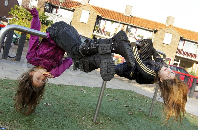 Girl Hanging Upside Down From a Tree 2 Girls Hanging Upside Down on