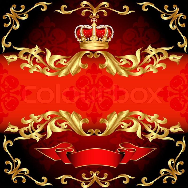 Roter Hintergrund Rahmen gold Muster und corona   Stockfoto   Colourbox