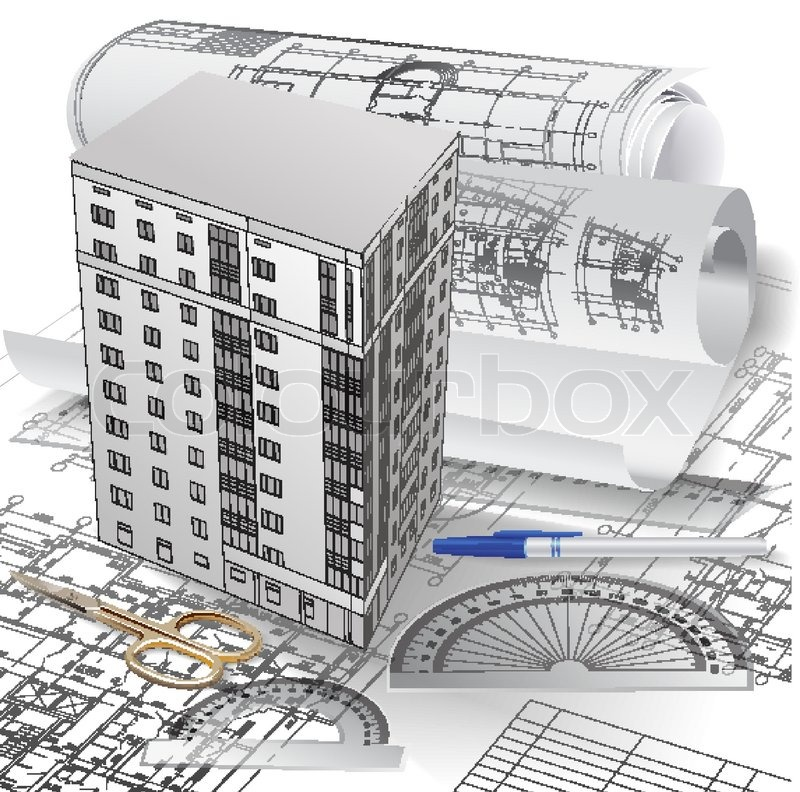 Architectural background with a 3D building model and rolls of ...