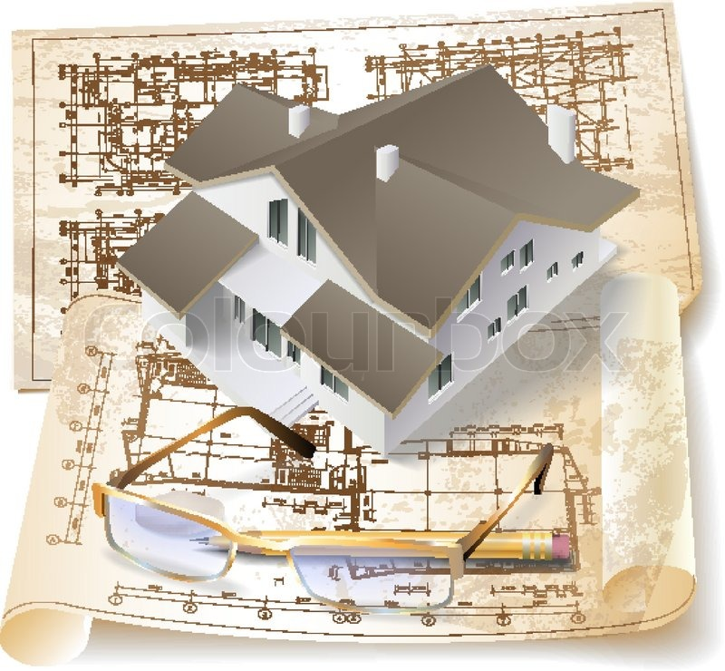 Grunge Architectural Background With A 3d Building Model And Rolls Of Drawings Vector Clip Art