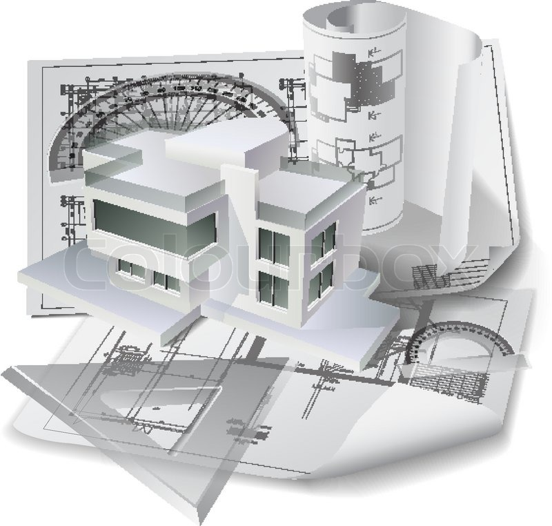 Architectural Background With A 3d Building Model And Rolls Of Technical Drawings Part Of