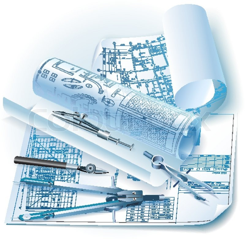 Architectural background with drawing tools and rolls of for Architecture drawing tools