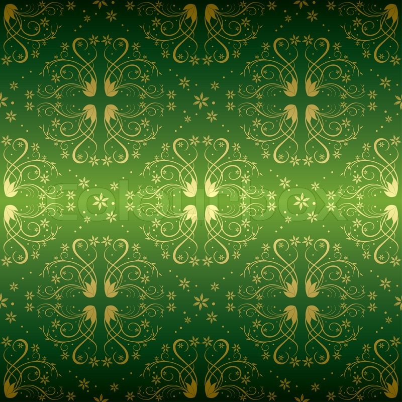 Green And Gold Floral Seamless Pattern Stock Photo