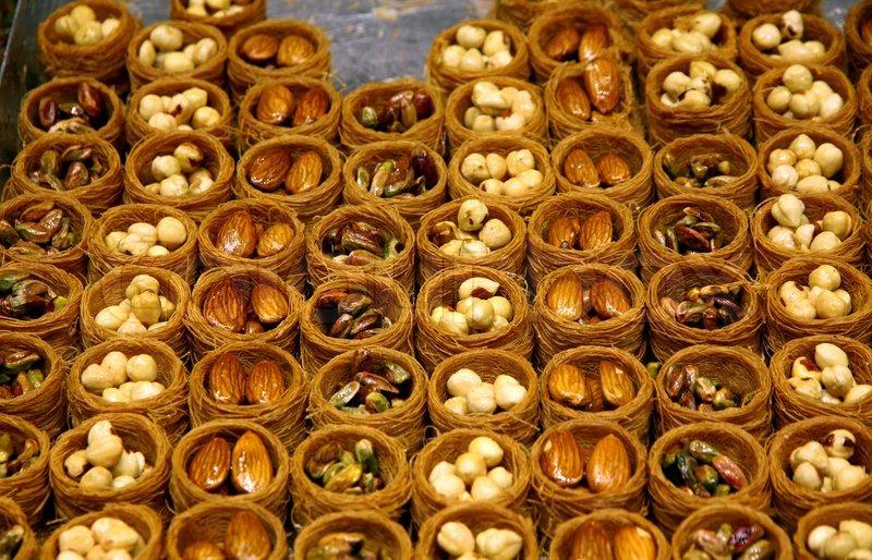 Close Up Traditional Turkish Baklava Cakes Sweet Dessert