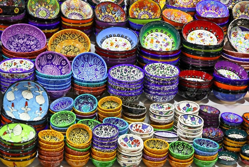 Classical turkish ceramics on the bazaar istanbul stock photo - Classical Turkish Ceramics On The Bazaar Stock Photo