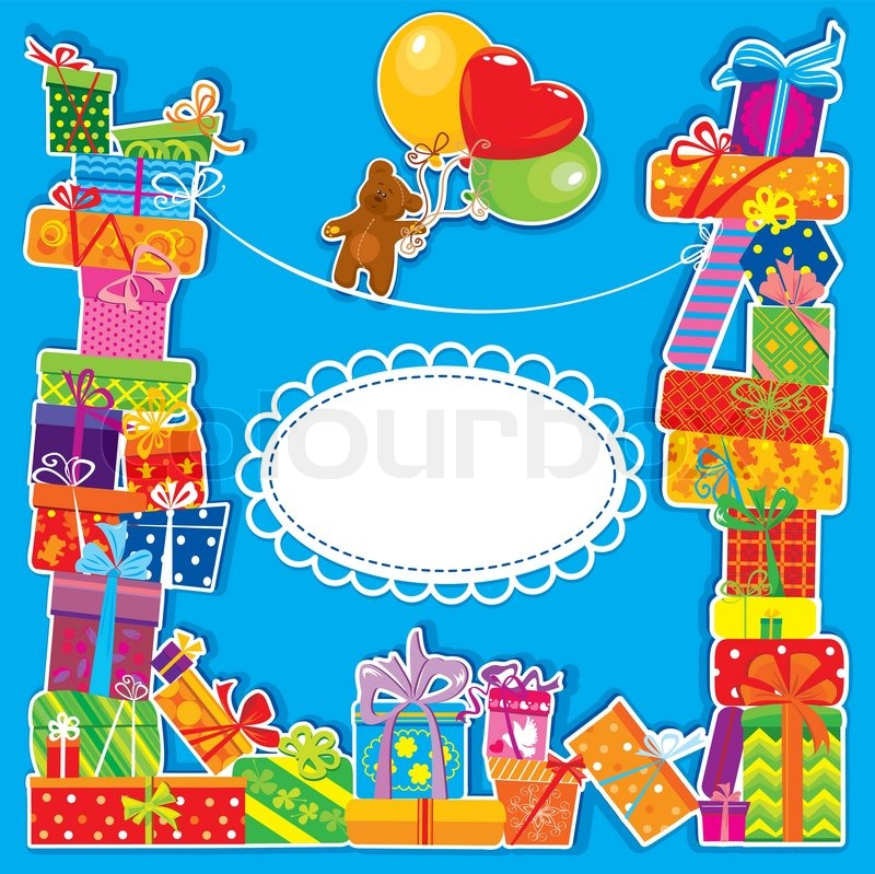 Baby Birthday Card With Teddy Bear And Gift Boxes For Boy Stock