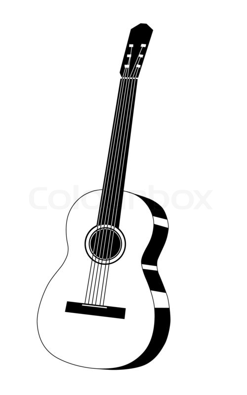 Contour Line Drawing Guitar : Guitar drawing on white background stock photo colourbox