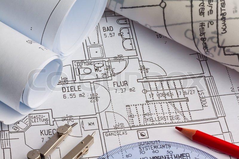 Blueprint of a house construction stock photo colourbox blueprint of a house construction stock photo malvernweather Choice Image