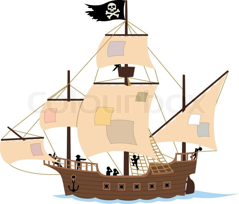 Pirate Ship on White | Vector | Colourbox