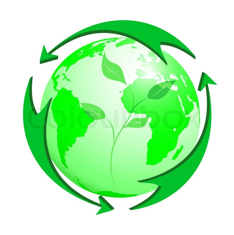 Green Arrows Round The Green Earth With Young Sprout Stock Photo