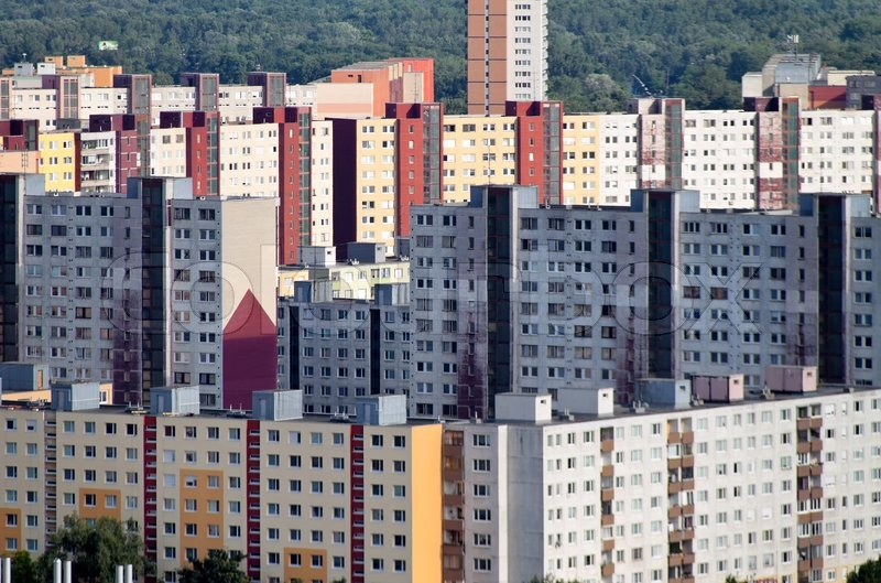 Slovakia bratislava apartment buildings stock photo for Bratislava apartments