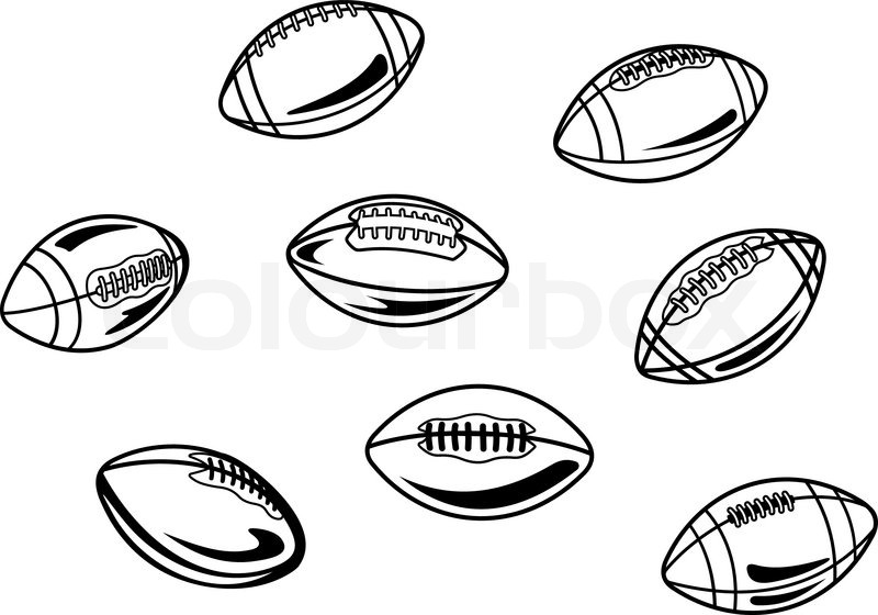 Rugby And American Football Balls Stock Vector Colourbox