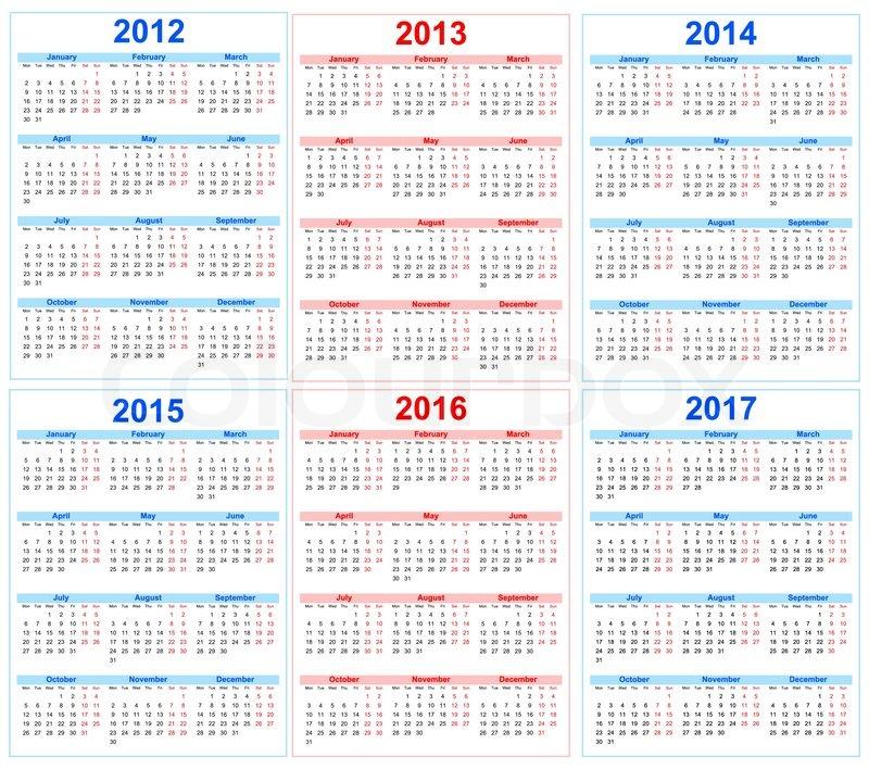 Calendar 2012, 2013, 2014, 2015, 2016, 2017 | Vector | Colourbox