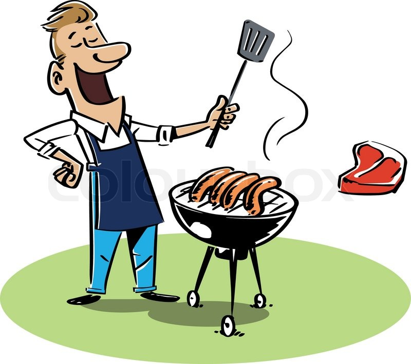 happy man with a barbecue wearing an apron stock vector colourbox