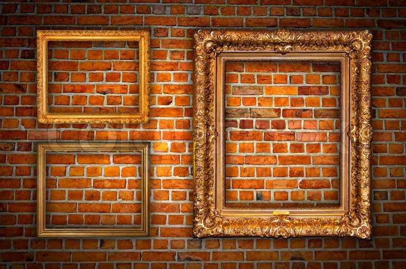 Golden Frames On Brick Wall Stock Photo Colourbox