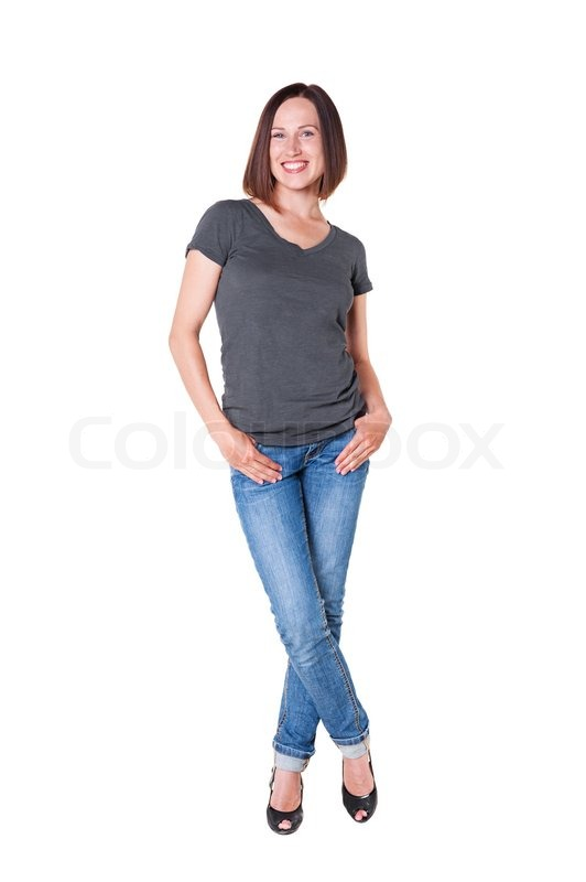 smiley slim girl in the tshirt and jeans stock photo