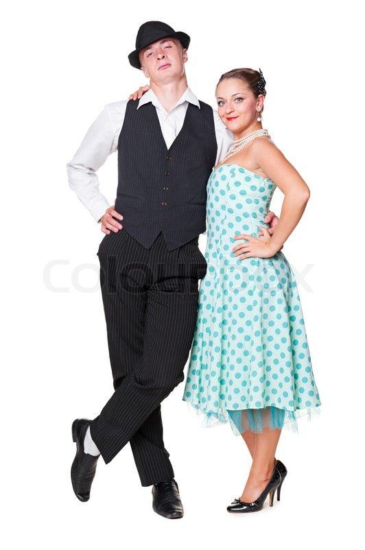 Young Couple In Love Retro Style 60s Stock Photo Colourbox