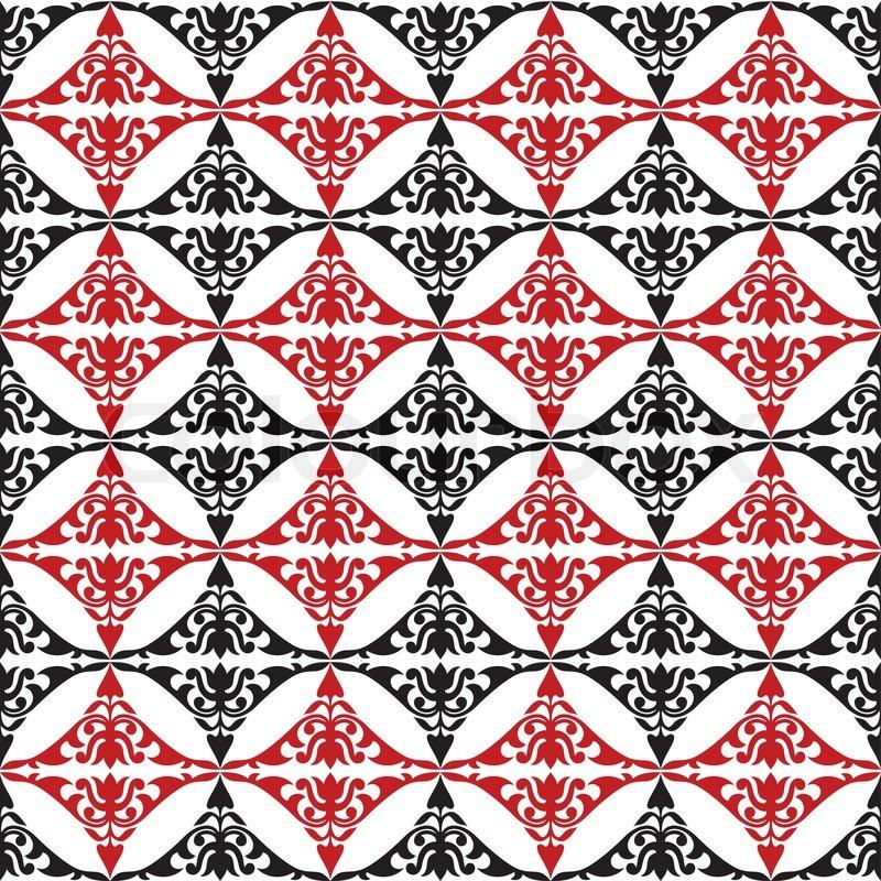 Damask Wallpaper on Geometric Fabric Design