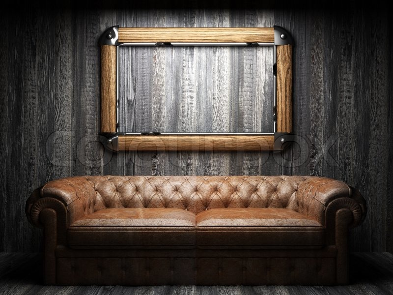 Leather Sofa And Frame In Dark Room Stock Photo Colourbox