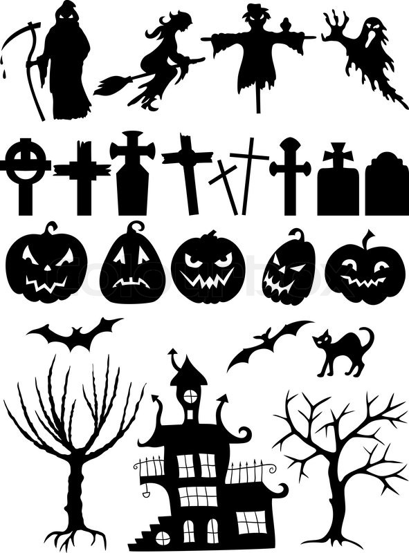 Set of halloween silhouettes stock vector colourbox - Halloween fensterbilder ...