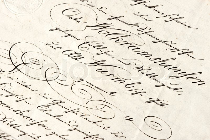 Old letter with calligraphic handwritten text stock