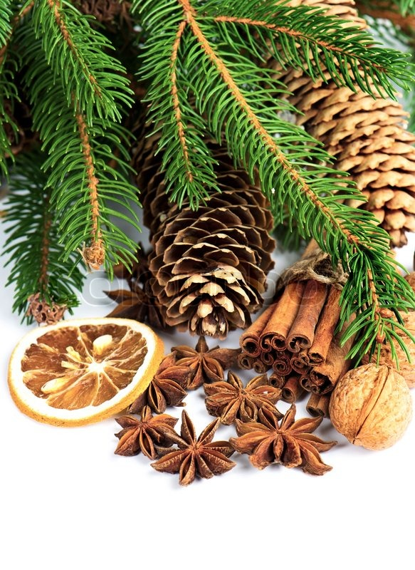 Pine Branchwith Cinnamon Sticks Anise Stars And Nuts Christmas Decoration Stock Photo Colourbox