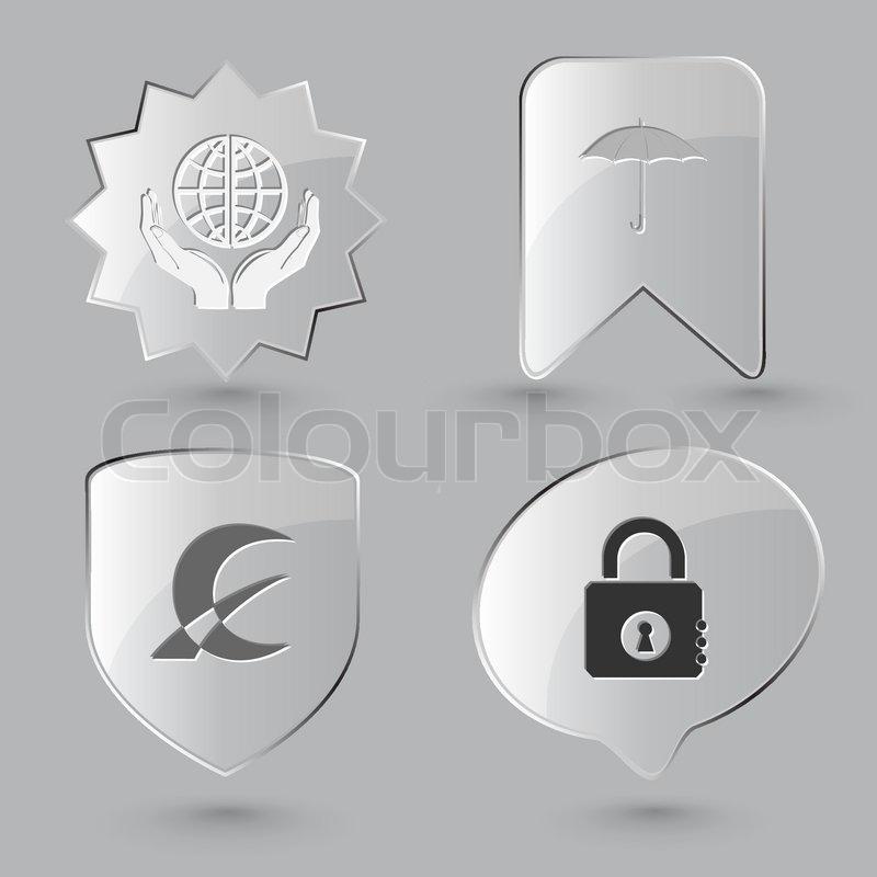Geschäft Symbolsatz mundo Schutz, geschlossenes Vorhängeschloss ...
