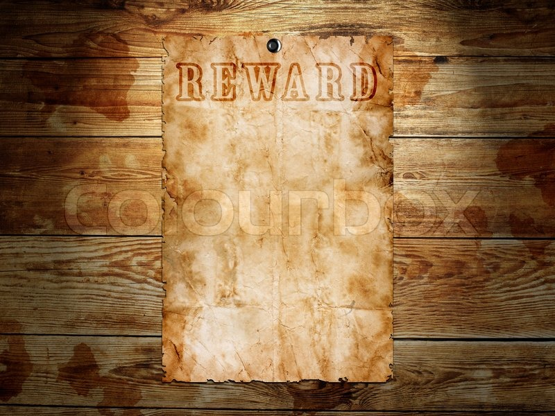 Old western wanted poster on wooden background | Stock Photo ...
