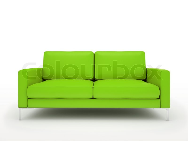 moderne gr ne sofa isoliert auf wei em hintergrund stockfoto colourbox. Black Bedroom Furniture Sets. Home Design Ideas