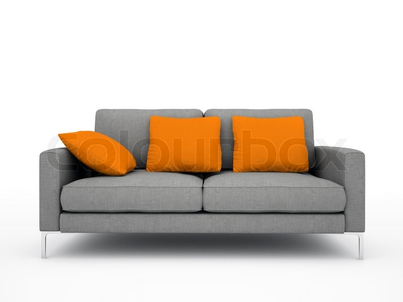 Modern grey sofa with orange pillows isolated on white for Grey and white sofa