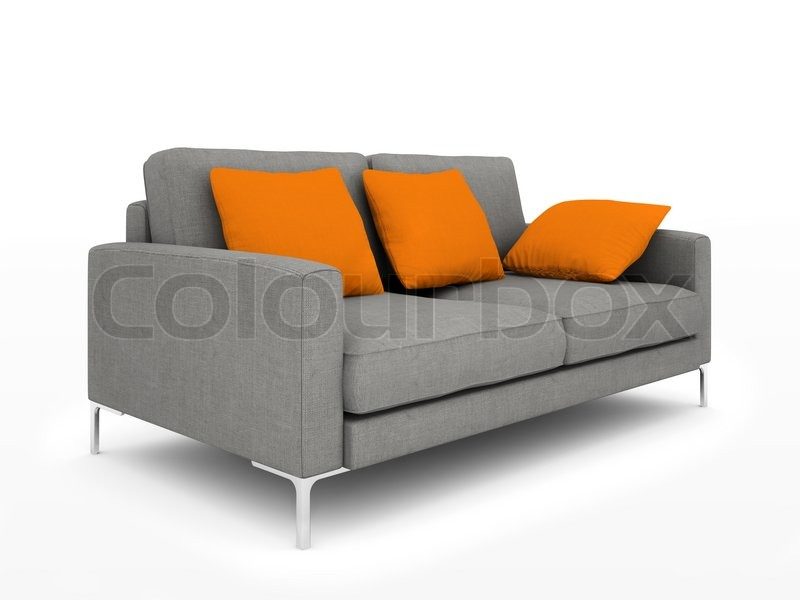 Modern Grey Sofa With Orange Pillows Isolated On White