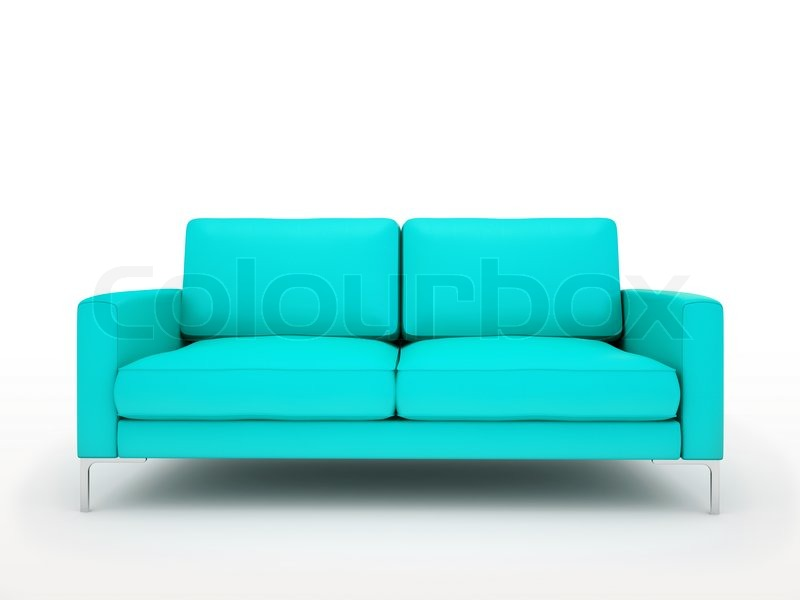 modern turquoise sofa isolated on white background stock photo colourbox. Black Bedroom Furniture Sets. Home Design Ideas