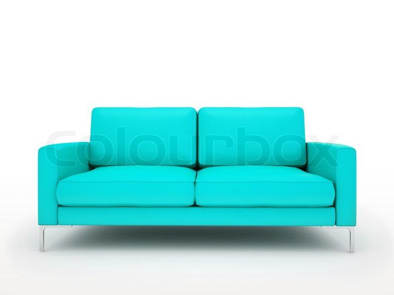 Modern Turquoise Sofa Isolated On White Background Stock