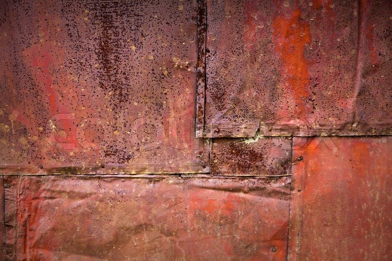 Rusted Tin Walls : Bright red rusted metal wall detailed grunge background