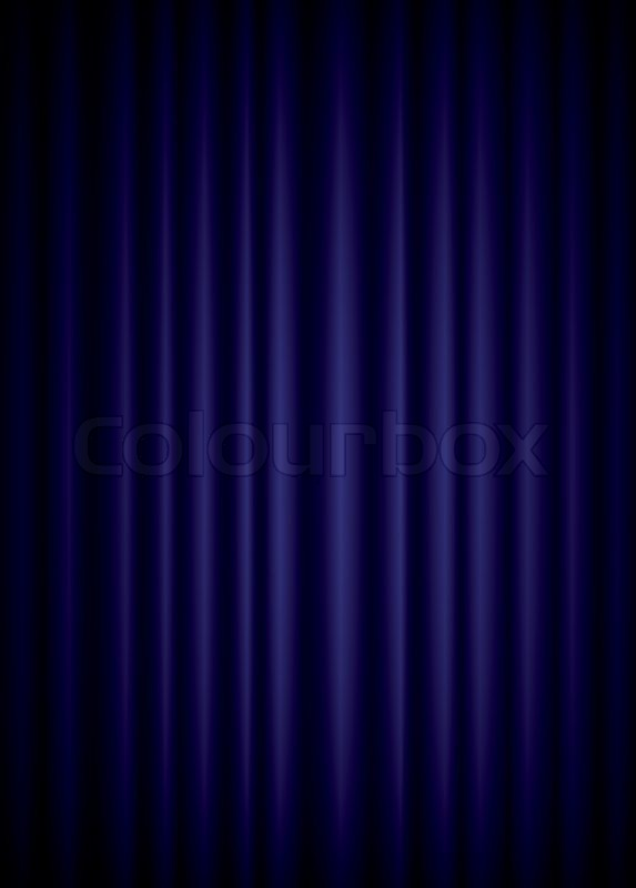 Closed blue theater silk curtain background with wave, EPS10 ...
