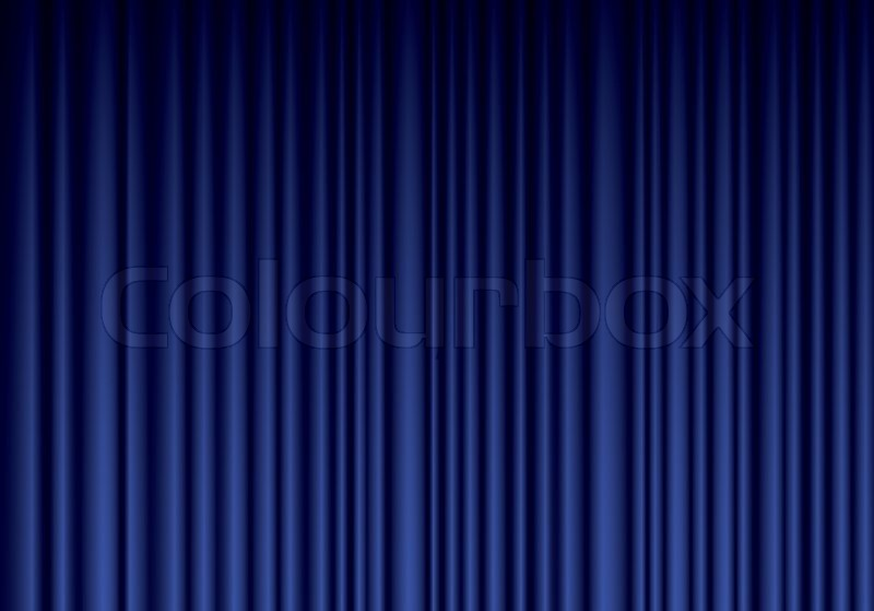 Blue Curtain Backdrop Closed blue theater silk curtain background with ...