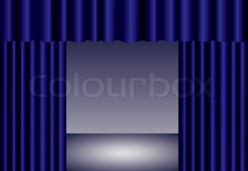 Curtains Ideas blue stage curtains : Blue theater curtain with spotlight on stage, EPS10 | Stock Vector ...