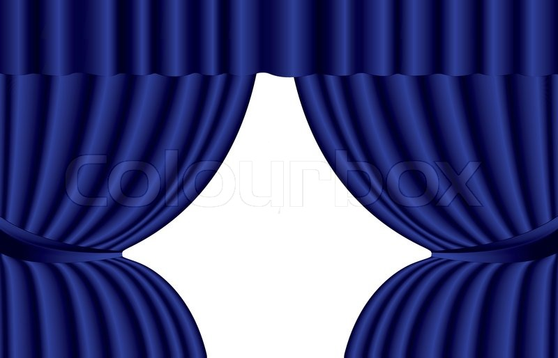Curtains Ideas blue stage curtains : Blue theater curtain with spotlight on stage, EPS10   Stock Vector ...