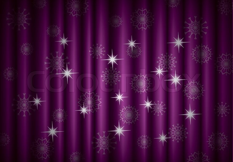 Christmas Violet Curtain Background With Snowflakes Eps10