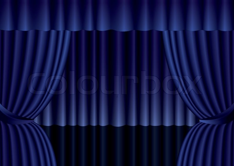 Blue Theater Silk Curtain Background Stock Vector