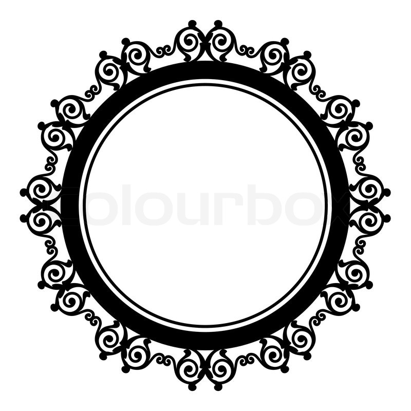 circle baroque border with leafs victorian frame stock vector rh colourbox com round victorian frame vector victorian oval frame vector