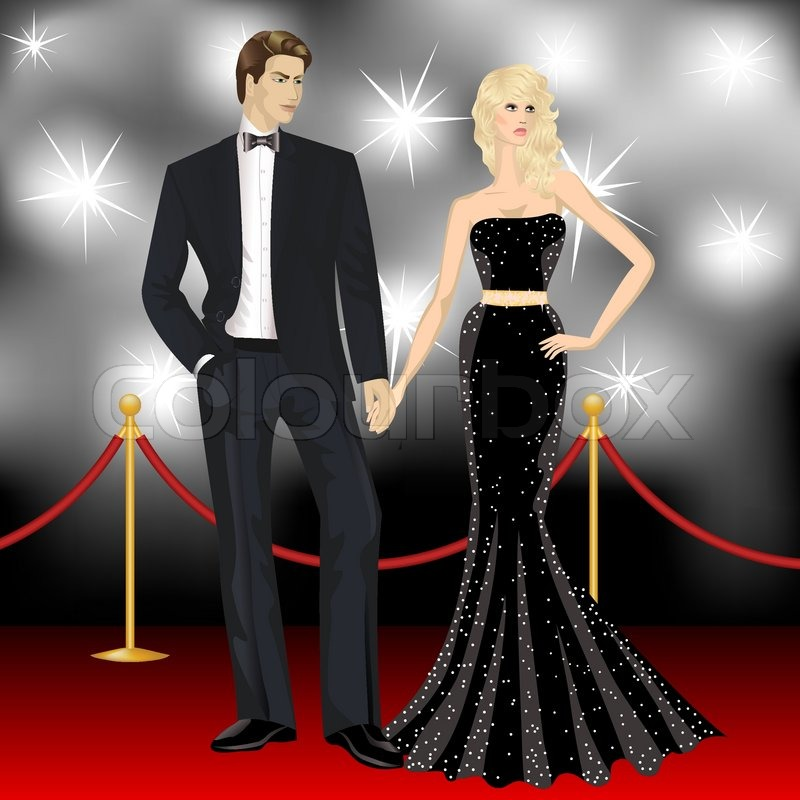 Fashion Woman And Elegant Man In Front Of The Paparazzi On