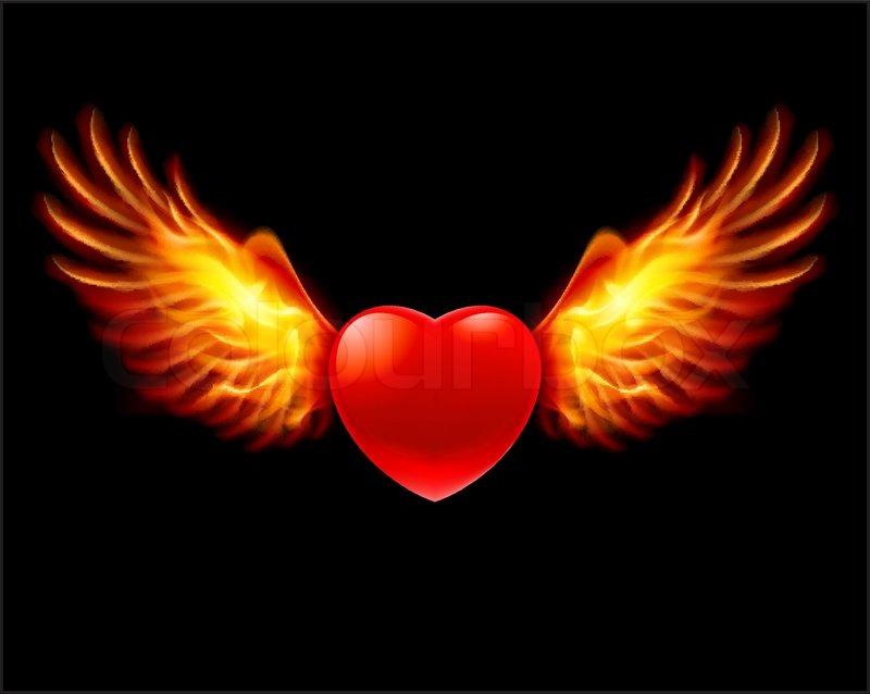 Fiery Treble Clef In Rainbow Flames: Fire Heart Stock Vector Colourbox