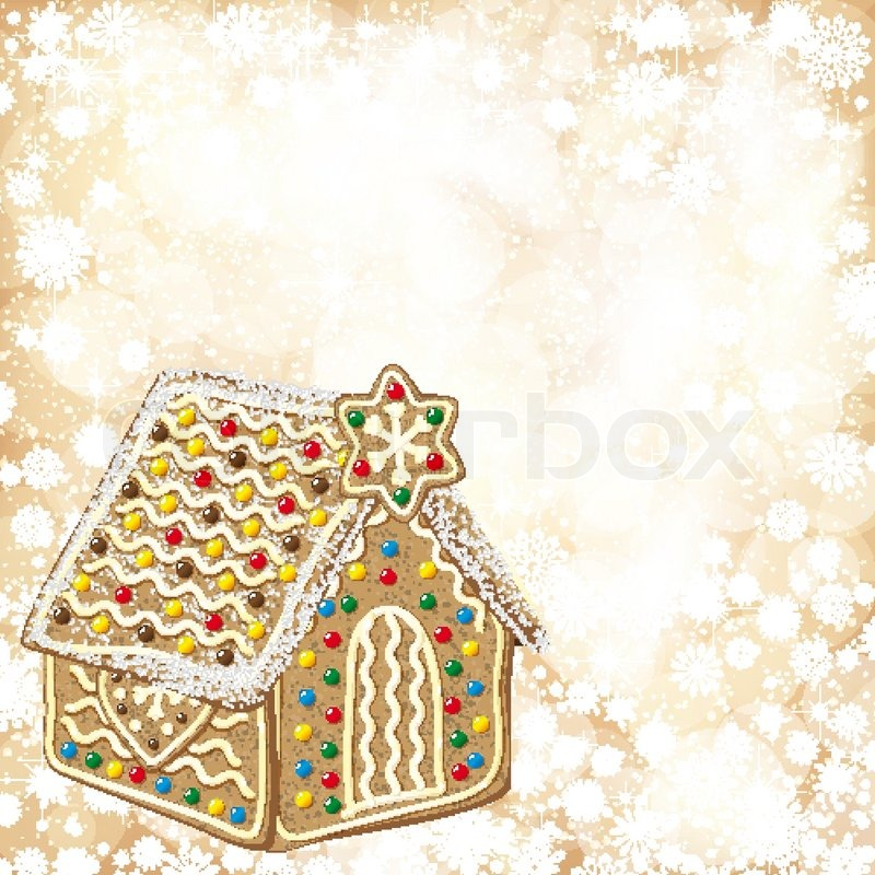 Christmas Gingerbread House Background.Christmas Background With Golden Stock Vector Colourbox