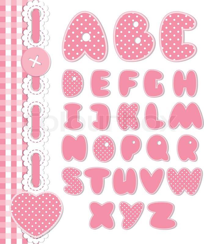 Retro Scrapbook Font Pink Color Stock Vector Colourbox