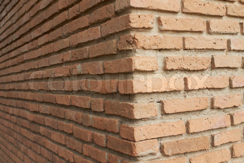 Brick wall in corner stock photo colourbox for Brick quoin detail