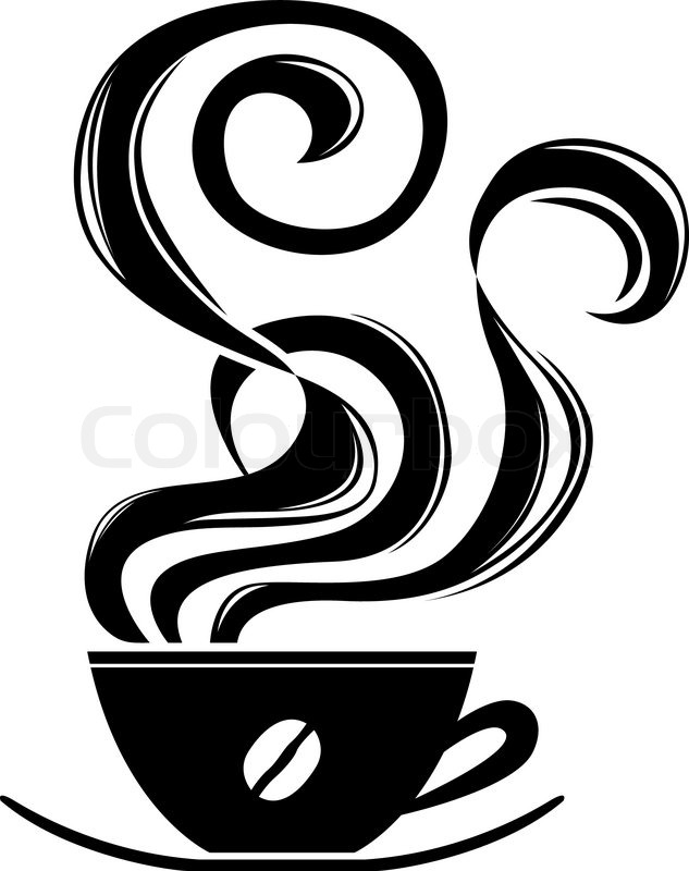 Cup Of Hot Coffee With Ornament Elements Stencil Vector