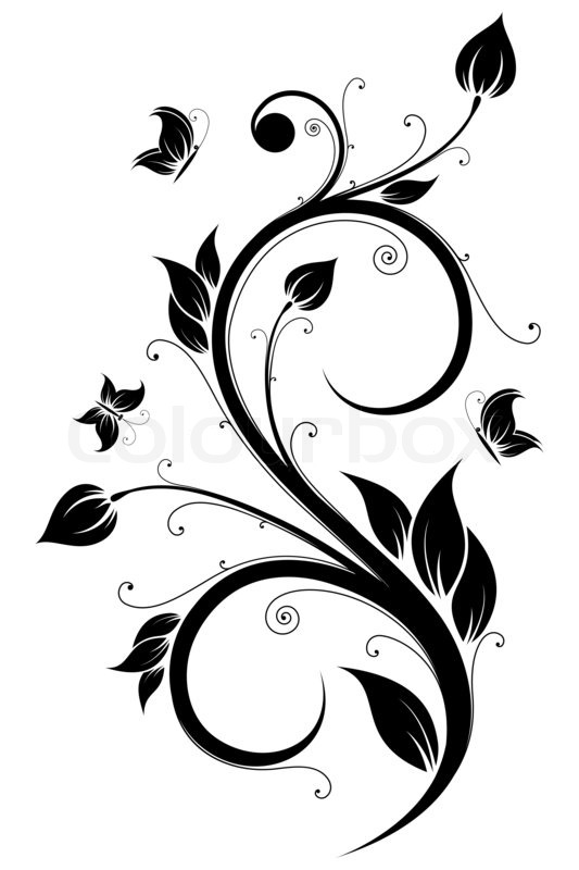Floral Design Element Image 4957574 on Swirl Border Stencil